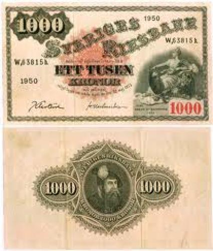 Banknotes; Year: 1950 SWEDEN 1000 KRONOR