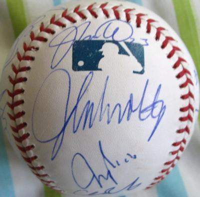 2005 Atlanta Braves team autographed baseball Andruw Jones Chipper Jones Brian McCann John Smoltz