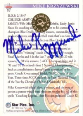 Mike (Coach K) Krzyzewski certified autograph Duke 1992 Star Pics card