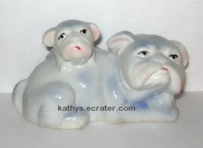 Blue and White Bulldog Pug Mama and puppy Dog Animal Figurine