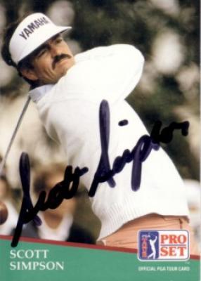 Scott Simpson autographed 1991 Pro Set golf card