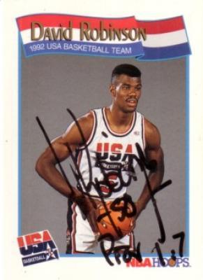 David Robinson autographed 1991-92 Hoops USA Dream Team card