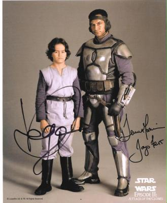 Temuera Morrison &amp; Daniel Logan autographed Star Wars Jango &amp; Boba Fett 8x10 photo