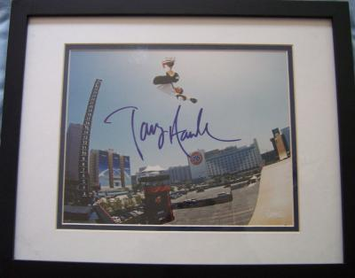 Tony Hawk autographed 8x10 skateboarding photo matted & framed Steiner