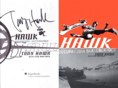 Tony Hawk autographed Occupation Skateboarder book