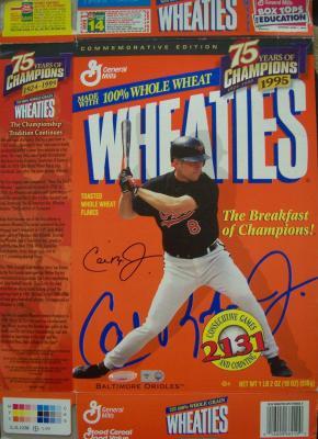 Cal Ripken autographed 1999 Wheaties 75 Years of Champions box