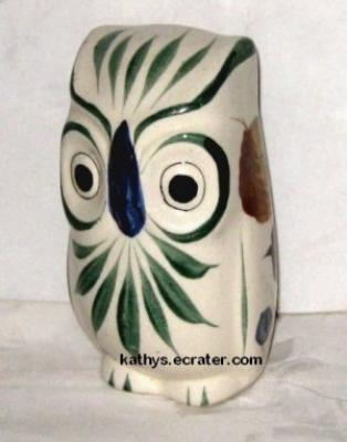 Mexico Hand Painted Pottery Clay Owl Bird Figurine