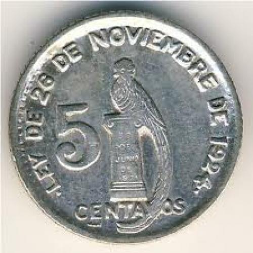Coins;  Guatemala, 5 centavos, 1925–1949