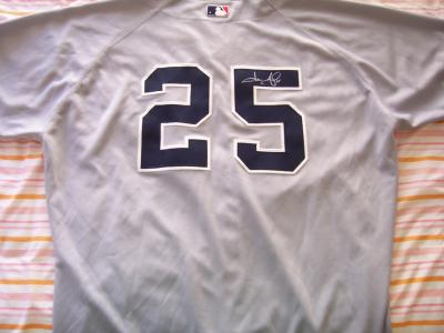 Jason Giambi autographed New York Yankees 2002 game issued jersey