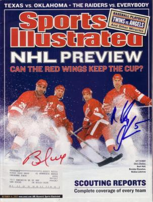 Brett Hull & Nicklas Lidstrom autographed Detroit Red Wings 2002 Sports Illustrated
