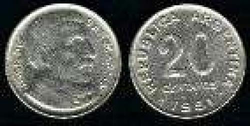 20 Centavos 1950-1953 (km 48); Copper-Nickel; BUSTO S.MARTIN ANCIANO