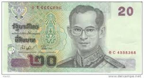 Banknotes; 20 Baht Thailand 2003 Banknote Currency