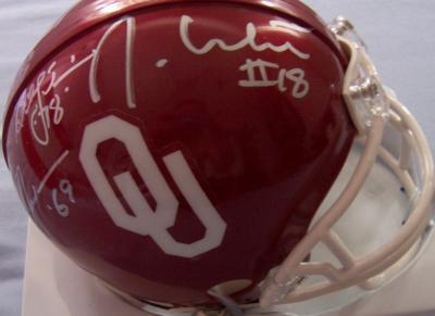 Steve Owens Billy Sims Jason White autographed Oklahoma Sooners mini helmet