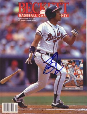 David Justice autographed Atlanta Braves 1991 Beckett Baseball magazine cover