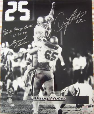 Doug Flutie & Gerard Phelan autographed 1984 Boston College Hail Mary 16x20 poster size photo