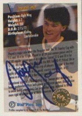 Jaromir Jagr certified autograph Pittsburgh Penguins 1991 Star Pics card