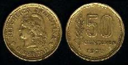 50 Centavos 1970-1976 (km 68); LIBERTAD LAUREL