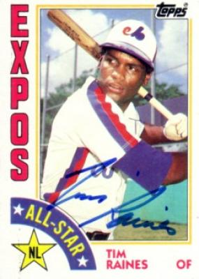 Tim Raines autographed Montreal Expos 1984 Topps All-Star card