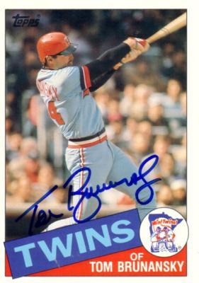 Tom Brunansky autographed Minnesota Twins 1985 Topps 5x7 jumbo card