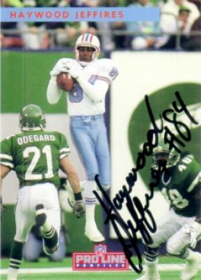 Haywood Jeffires certified autograph Houston Oilers 1992 Pro Line card