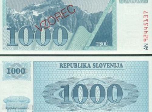 Slovenia - 1,000 Tolarjev-unc 1992 Specimen Notes