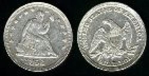 25 cents; Year: 1838-1865; Liberty. Seated no motto