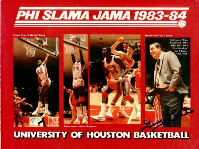 Guy Lewis autographed 1983-84 Houston Cougars Phi Slama Jama media guide