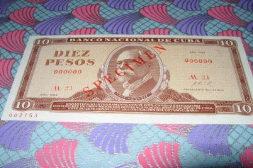 Cuba-10 Pesos-1969 Specimen-unc