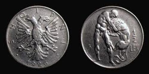 Coin; Albania, 1926 , Rome mint, ½ Lek