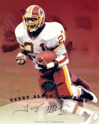 Terry Allen certified autograph Washington Redskins 1997 Leaf 8x10 photo card
