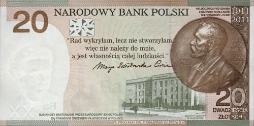 Pologne  20 zlotych 100 anniversaire du Prix Nobel