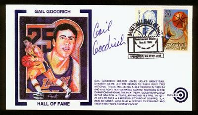 Gail Goodrich autographed Basketball Hall of Fame cachet