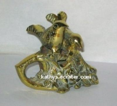 India Brass 2 Love Birds Sitting in Flowers Figurine