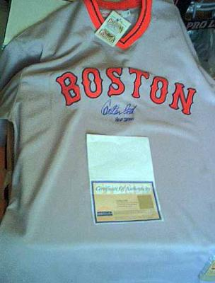 Carlton Fisk autographed Boston Red Sox authentic jersey inscribed HOF 2000 ltd edit 27 (Steiner)