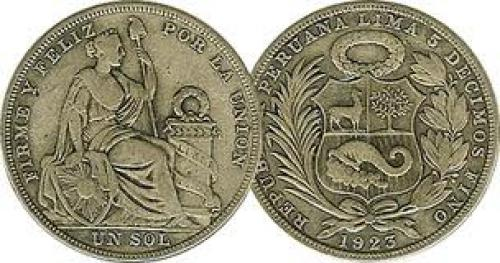 Coins; Peru 1 Sol 1923 to 1935