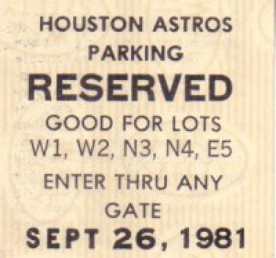 Nolan Ryan 5th No-Hitter original 1981 Houston Astros parking ticket