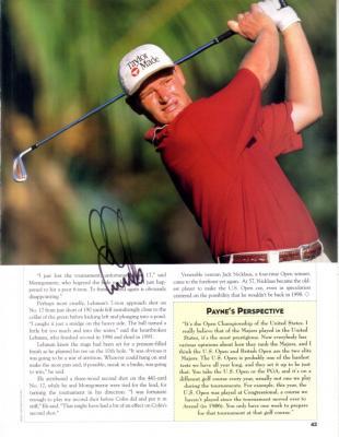 Ernie Els autographed golf magazine page (full name signature)