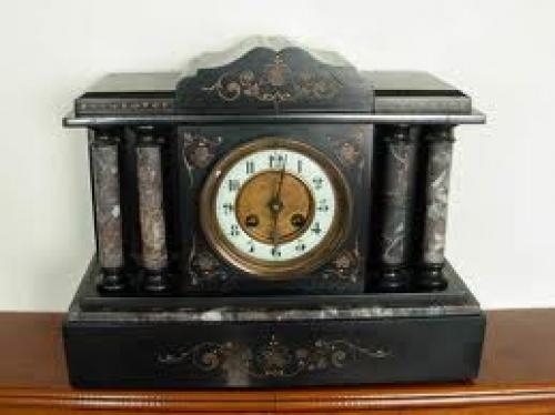 Antique Black Marble Clock
