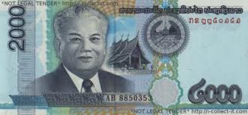 Banknotes; Laos; 2000 Kip 2011 front image; Laos currency