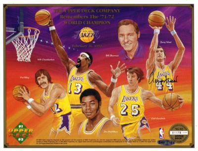 Jerry West autographed 1971-72 Los Angeles Lakers commemorative sheet (UDA)