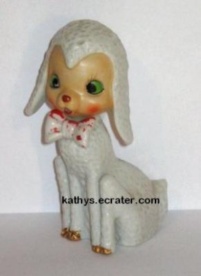 Japan Porcelain White Sitting Lamb Animal Figurine