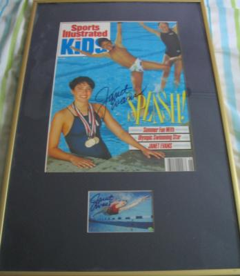 Janet Evans autographed Sports Illustrated for Kids cover & card matted & framed