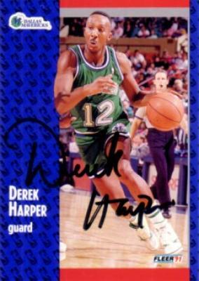 Derek Harper autographed Dallas Mavericks 1991-92 Fleer card