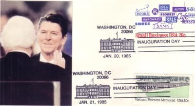 1985 Ronald Reagan inauguration cachet cover (dual cancellation)