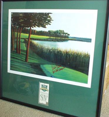 Rich Beem autographed Hazeltine lithograph inscribed 2002 PGA Champion framed with ticket
