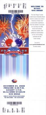 2008 Poinsettia Bowl ticket TCU 17 Boise State 16