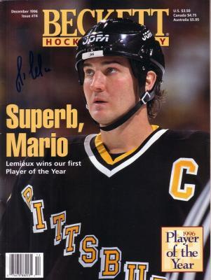 Mario Lemieux autographed Pittsburgh Penguins 1996 Beckett Hockey magazine