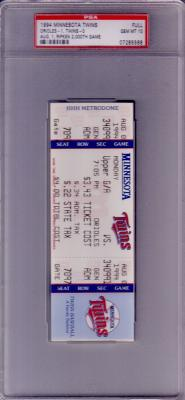 Cal Ripken Consecutive Game 2000 1994 Baltimore Orioles full unused ticket PSA 10 GEM MINT