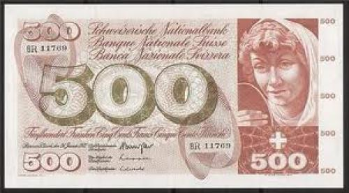 Bank of Switzerland 500 franken banknote