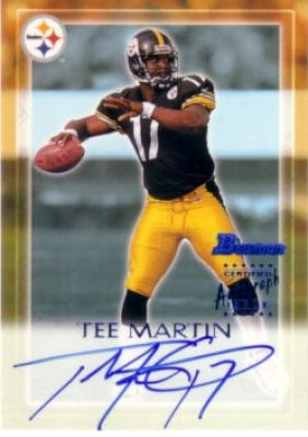 Tee Martin certified autograph Steelers 2000 Bowman card